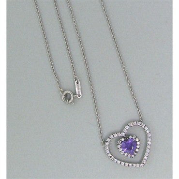thumbnail image of Fred Leighton Platinum Diamond Purple Sapphire Necklace