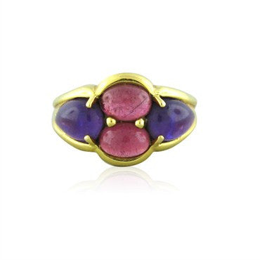 image of Estate Mark Patterson 18K Gold Amethyst Pink Tourmaline Ring