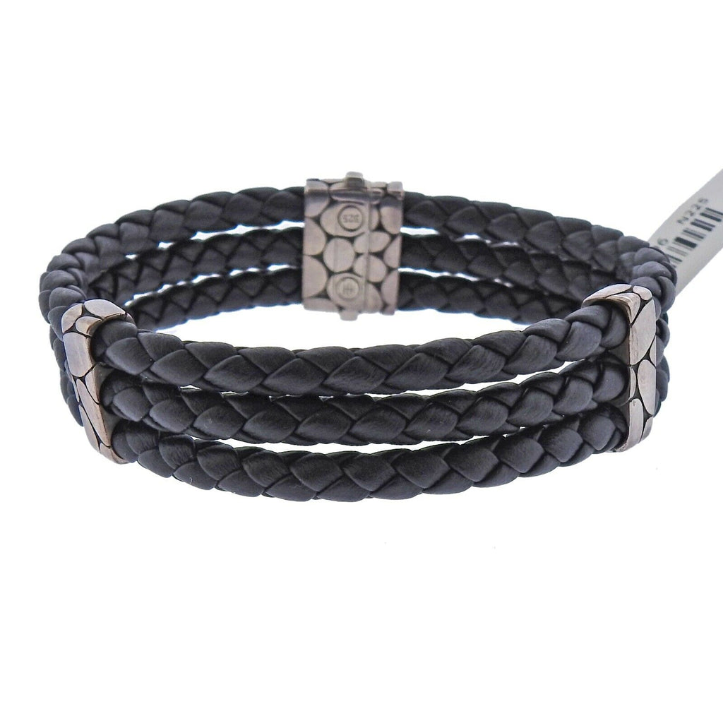 thumbnail image of John Hardy Kali Sterling Silver Three Row Braided Leather Bracelet