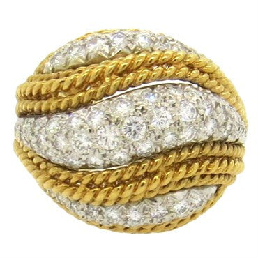 image of Classic 1960s 1.80ctw Diamond Gold Dome Ring