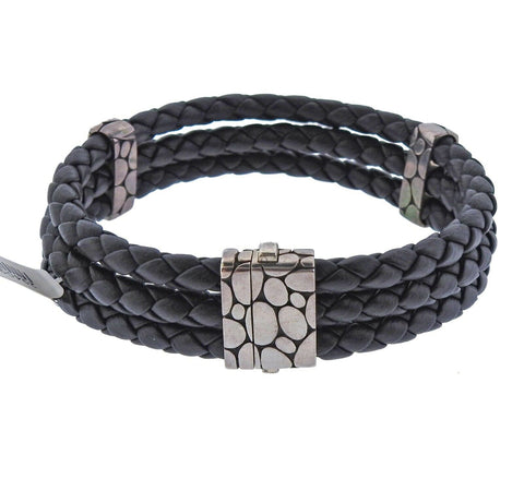 image of John Hardy Kali Sterling Silver Three Row Braided Leather Bracelet