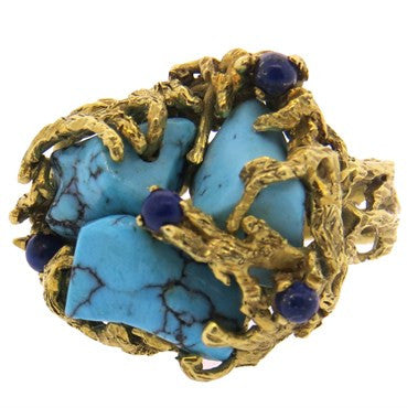 thumbnail image of 1970s Free Form Turquoise Lapis 18k Gold Ring