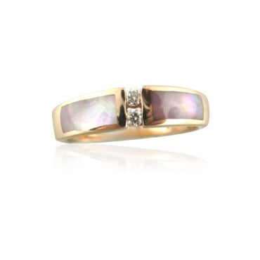 image of New Kabana 14k Gold Mother Of Pearl Diamond Ring
