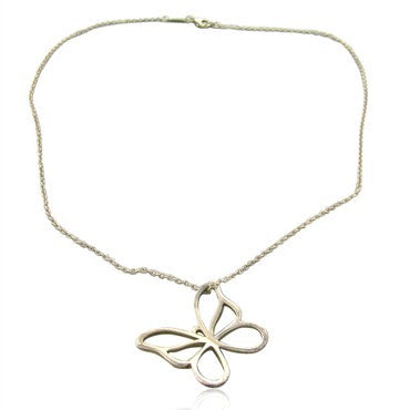 image of Estate Tiffany & Co Sterling Silver Butterfly Pendant Chain Necklace