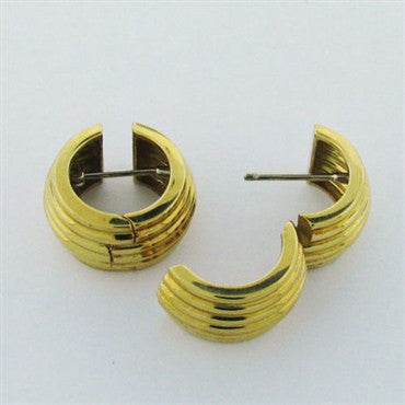 image of Estate Vintage Tiffany & Co 18k Gold Wide Hoop Earrings