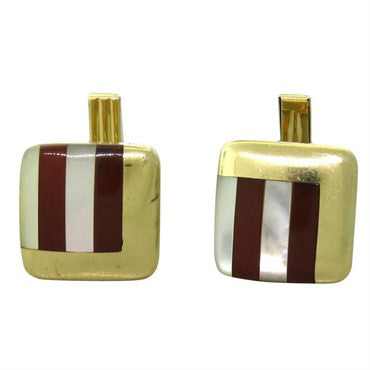 thumbnail image of Mother of Pearl Carnelian Inlay 14K Gold Cufflinks
