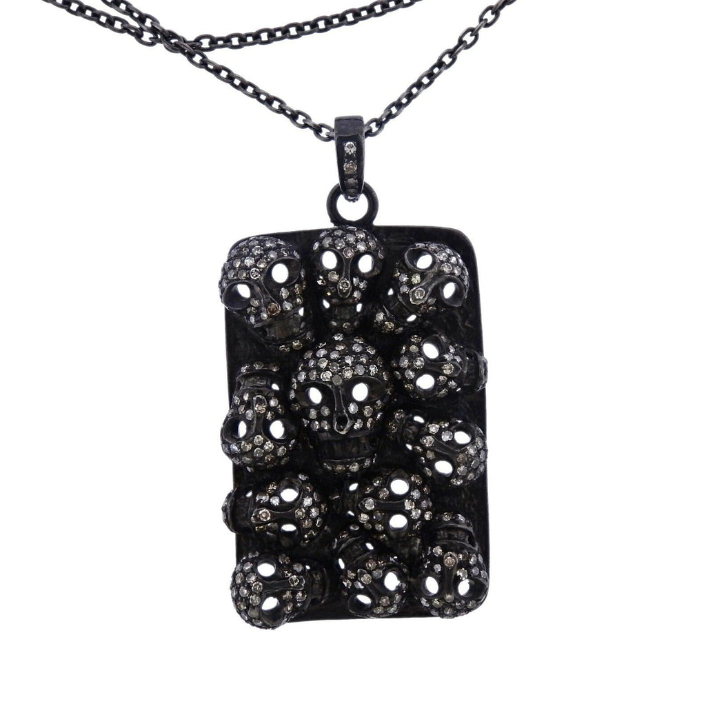 thumbnail image of Sterling Silver 18k Gold Diamond Skull Pendant Necklace
