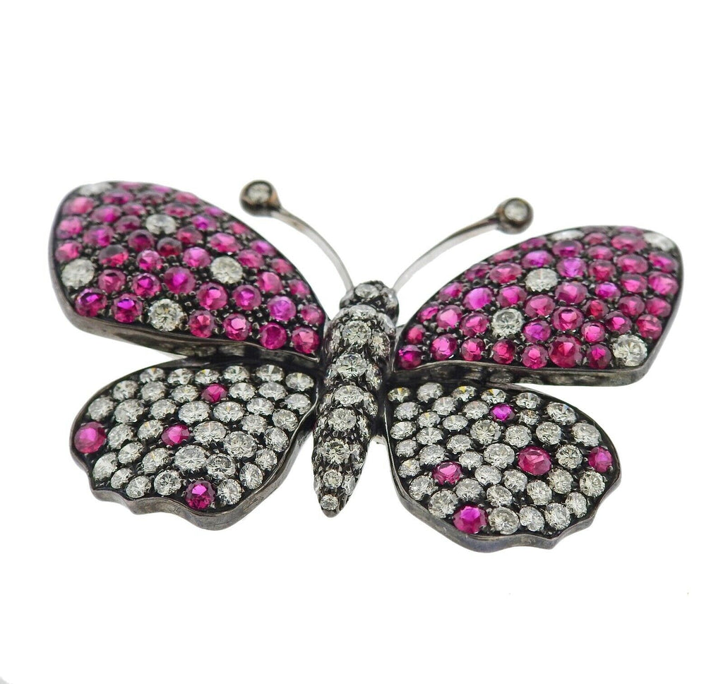 thumbnail image of Italian Diamond Ruby Gold Butterfly Pendant Brooch