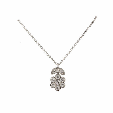 image of Tiffany & Co Garden Platinum Diamond Flower Necklace