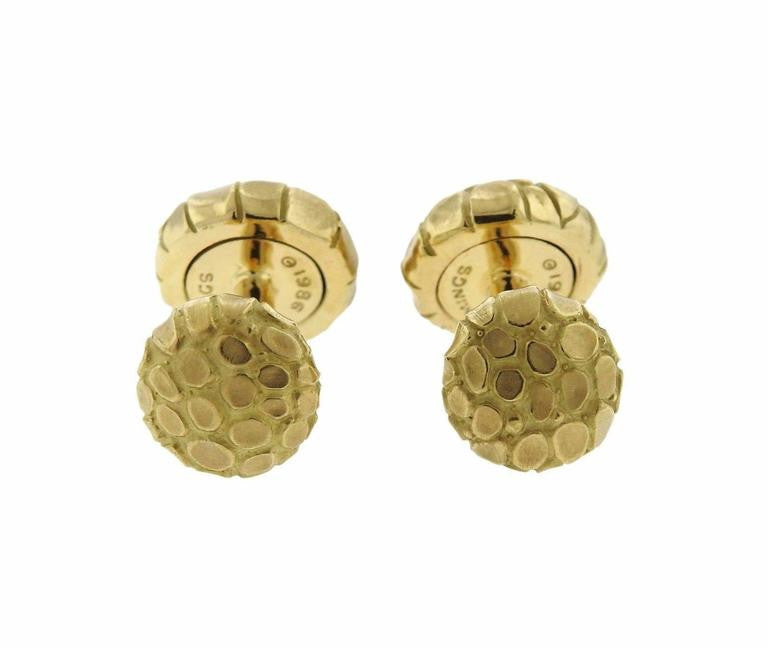 thumbnail image of Angela Cummings Gold Snake Reptile Motif Cufflinks