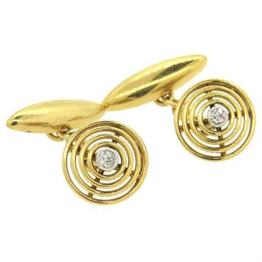 thumbnail image of Art Deco Diamond 18k Gold Cufflinks