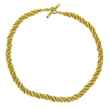 image of Classic Tiffany & Co. Jean Schlumberger Emerald Gold Twist Rope Toggle