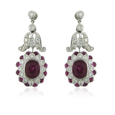 image of EGL Certified 18K Gold 3.27ctw Ruby Sapphire 1.57ct Diamond Earrings