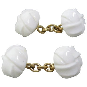 image of Trianon Carved White Gemstone Gold Cufflinks