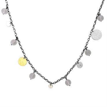 image of Gurhan Sterling Silver 24k Gold Frosted Quartz Flakes Necklace