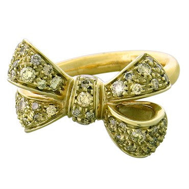 image of New Pomellato Forever 18k Gold Fancy Diamond Bow Ring