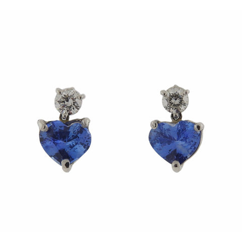 image of Platinum 4.90ctw Cornflower Blue Sapphire Diamond Heart Earrings
