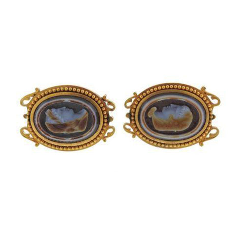image of Antique Victorian Hardstone Cameo 18k Gold Cufflinks
