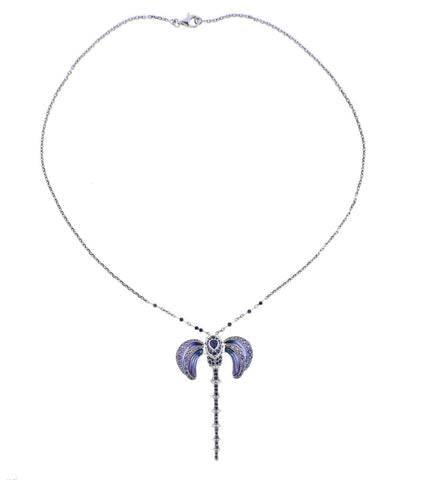 image of Lalique Libellule Gold Sapphire Plique a Jour Pendant Necklace