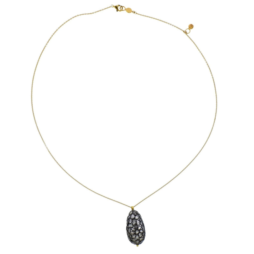 thumbnail image of Gurhan Spell Pastiche Gold Silver Diamond Teardrop Pendant Necklace