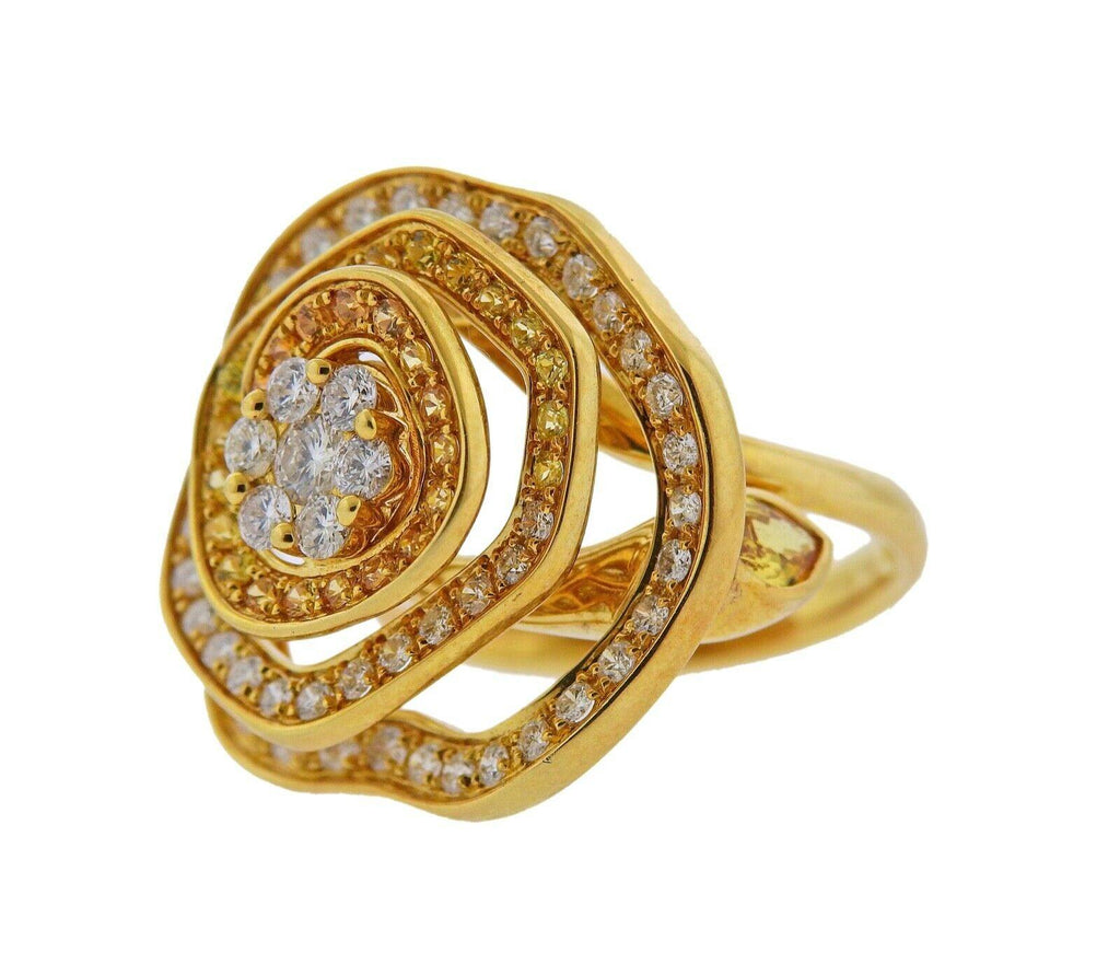 thumbnail image of Valente Yellow Sapphire Diamond Gold Flower Ring