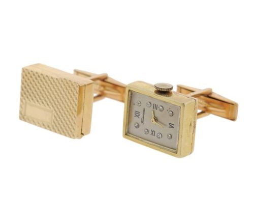 thumbnail image of Mid Century Diamond 14k Gold Watch Cufflinks