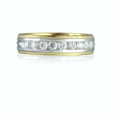 image of Hearts On Fire Ladies Duets Milgrain Diamond Band Ring