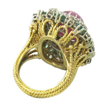 thumbnail image of Ruby Cabochon Emerald Diamond Gold Cocktail Ring 1960s