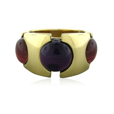 image of New Fred Paris 18K Yellow Gold Amethyst Tourmaline Ring