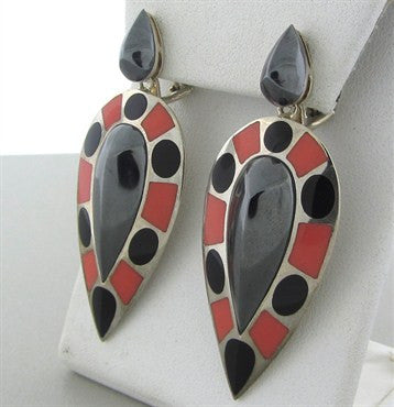 image of Stephen Webster Sterling Silver Coral Onyx Inlay Hematite Earrings