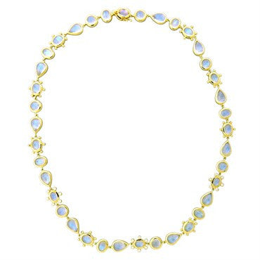 Temple St. Clair 18k Gold 58.39ct Blue Moonstone Diamond Halo Necklace