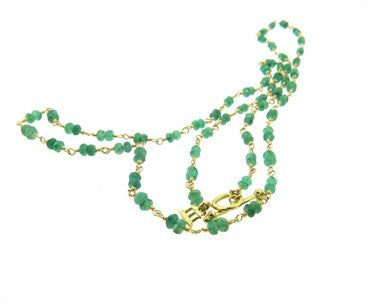 thumbnail image of Temple St. Clair Karina Emerald Bead 18k Gold Toggle Necklace