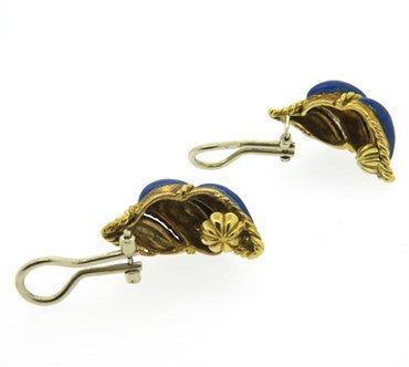 thumbnail image of 1960s Tiffany & Co. Blue Enamel 18k Gold Earrings