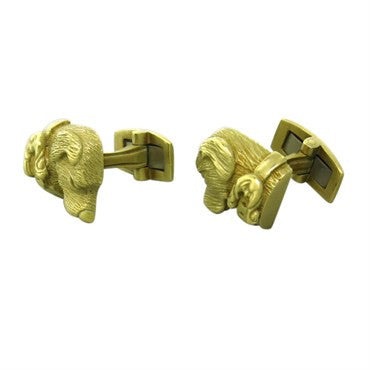 image of Kieselstein Cord 18K Gold Dog Cufflinks