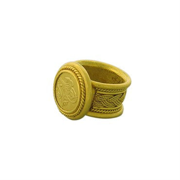 image of Hilat 24k Gold Hieroglyph Ring