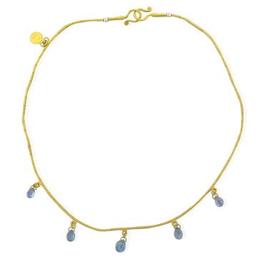 thumbnail image of Gurhan 24K Yellow Gold Sapphire Briolette Necklace