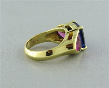 thumbnail image of Certified 18K Yellow Gold 3.92ct Tanzanite 2.50ct Pink Tourmaline Ring