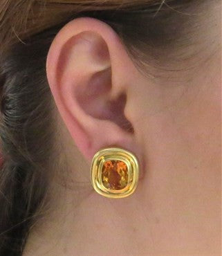 thumbnail image of Tiffany & Co. Paloma Picasso Citrine 18k Gold Earrings