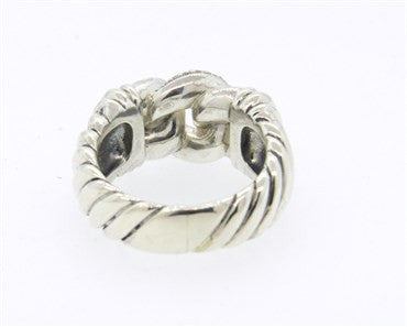 thumbnail image of David Yurman Sterling Silver Diamond Buckle Ring