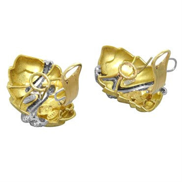 thumbnail image of Large Henry Dunay Diamond Gold Platinum Earrings
