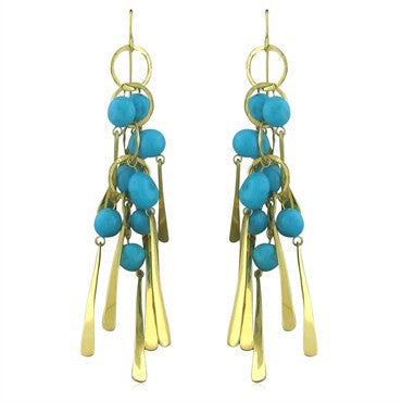 thumbnail image of Robert Lee Morris Large 18K Gold Turquoise Drop Earrings