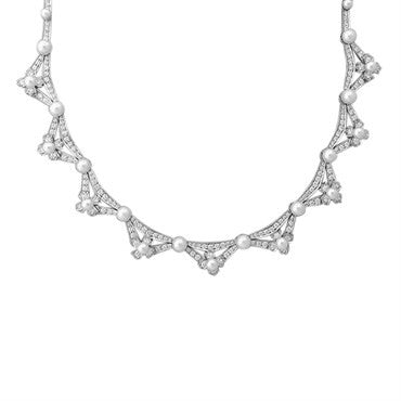 thumbnail image of Tiffany & Co Platinum 5.00ctw Diamond Pearl Necklace