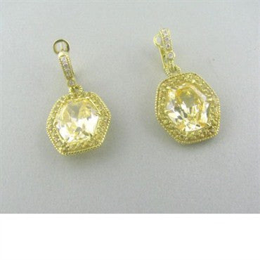 thumbnail image of Judith Ripka 18k Gold Diamond Canary Crystal Earrings