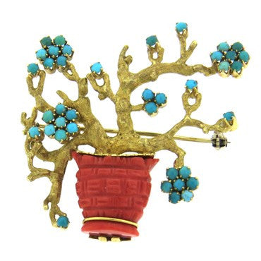thumbnail image of 1970s Turquoise Coral Gold Brooch