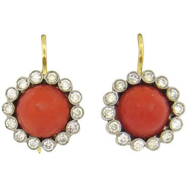 thumbnail image of Renee Lewis Coral Diamond 18k Gold Earrings