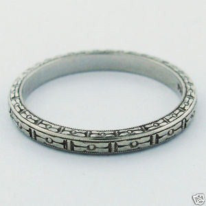 thumbnail image of Antique Priscilla Art Deco Platinum Wedding Ring Band Size 5.25