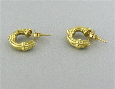 image of Vintage Tiffany & Co 18K Gold Bamboo Hoop Earrings