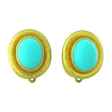 image of Elizabeth Locke Turquoise 18K Gold Night and Day Earrings