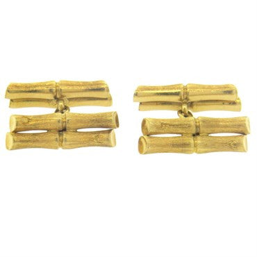 image of Classic Brushed 18k Gold Bamboo Cufflinks
