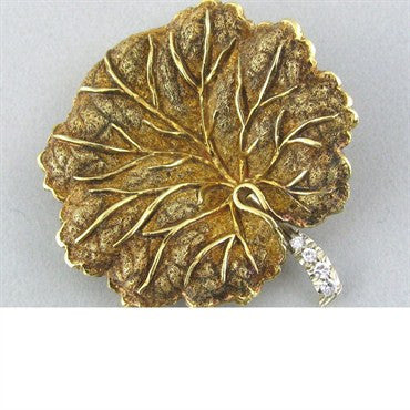 image of Vintage Tiffany & Co 18k Gold Diamond Leaf Brooch Pin